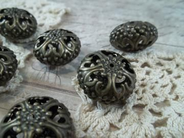 Large Bronze Filigree Beads (Item #BD060-B) by ButterBeeScraps for $1.80