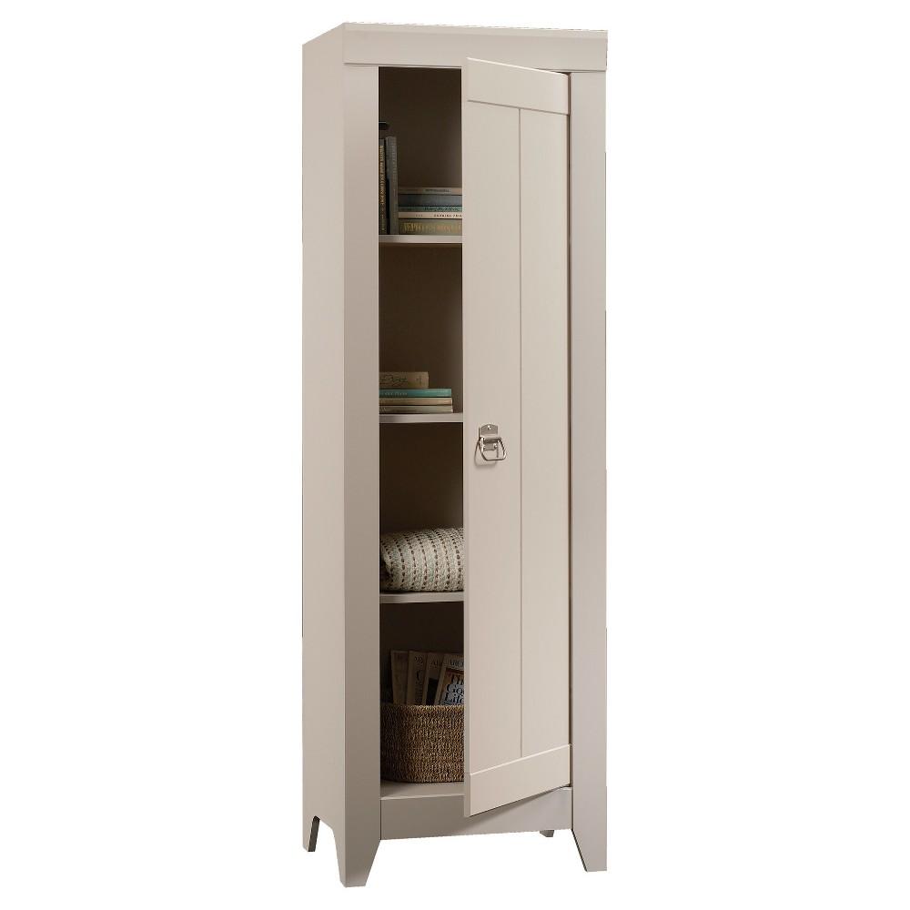 Adept Narrow 2 Door Storage Cabinet - Cobblestone - Sauder, Light Off White