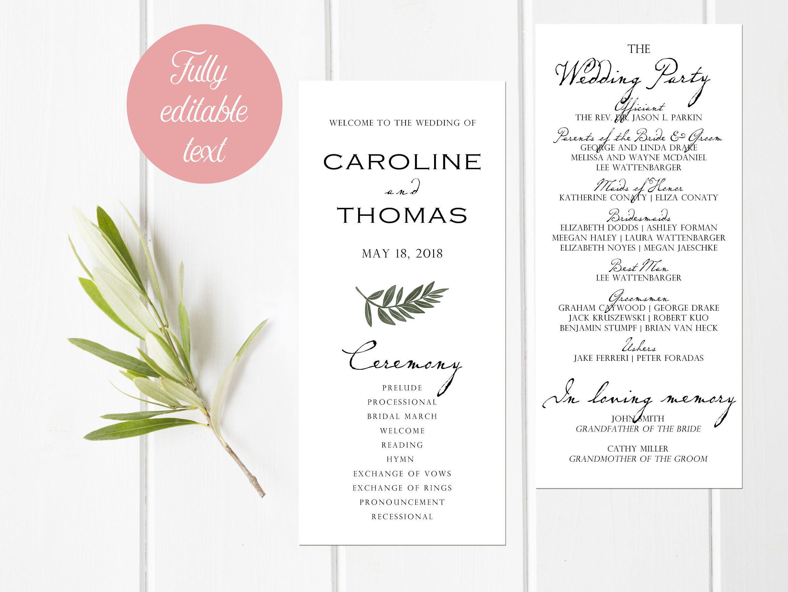 White Rose Wedding Program Card Order Of Service Ceremony Party Script Font Floral