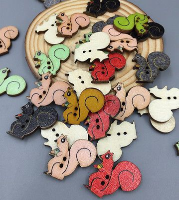 Wooden Mixed color Sewing Squirrels Buttons Scrapbooking Decoration 2-Holes 22mm