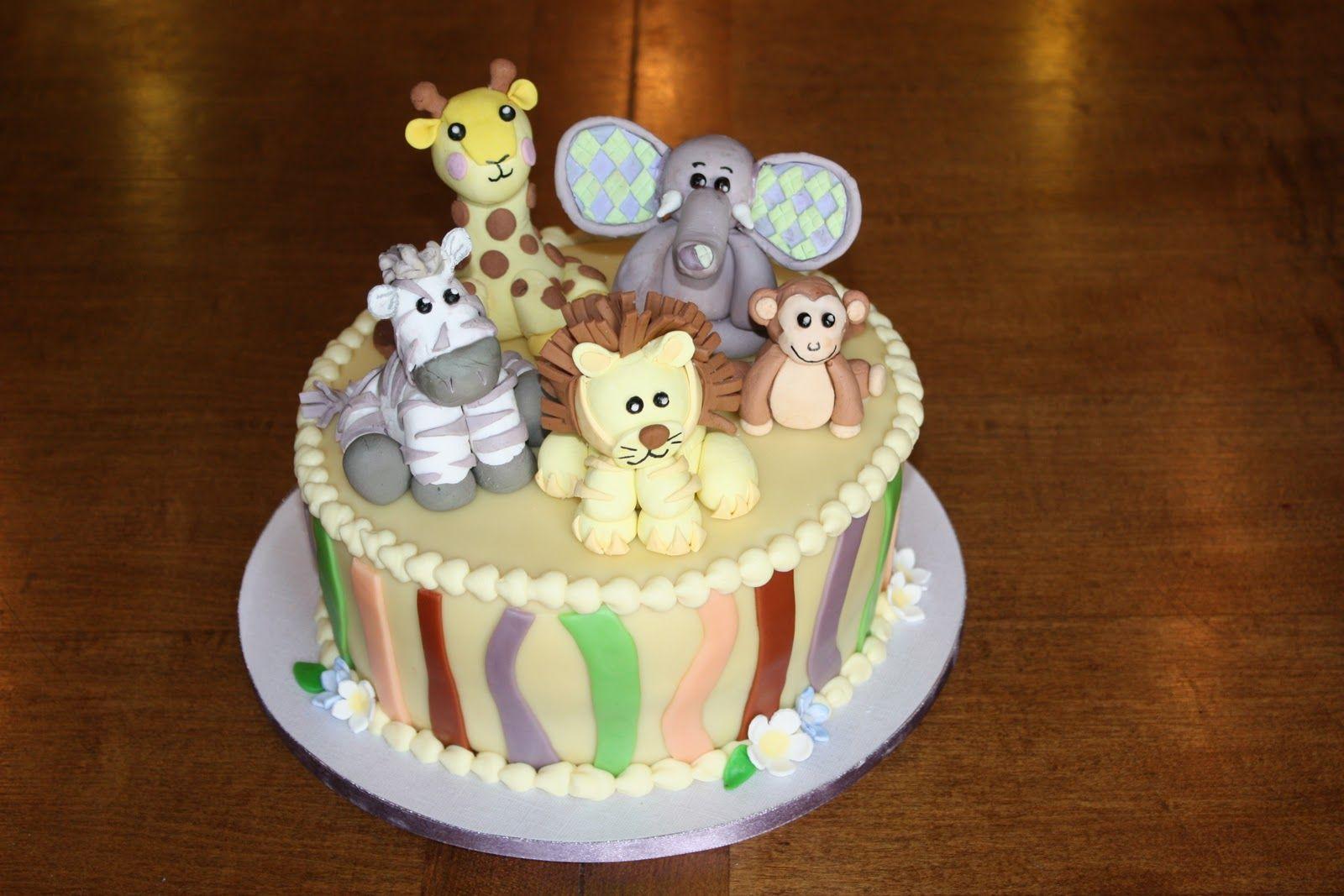 Zoo Animals Birthday Cake Party Ideas Pinterest