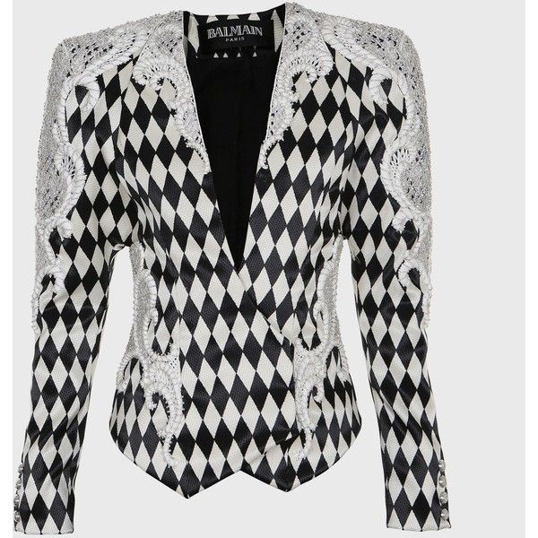 Balmain Diamond Prints & Embroideries Jacket ($4,530) ❤ liked on Polyvore featuring outerwear, jackets, balmain, embroidered jacket, white jacket, embroidery jackets and balmain jacket