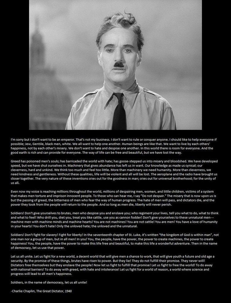 The Great Chaplin Speech by Harms1 Charlie chaplin, Film