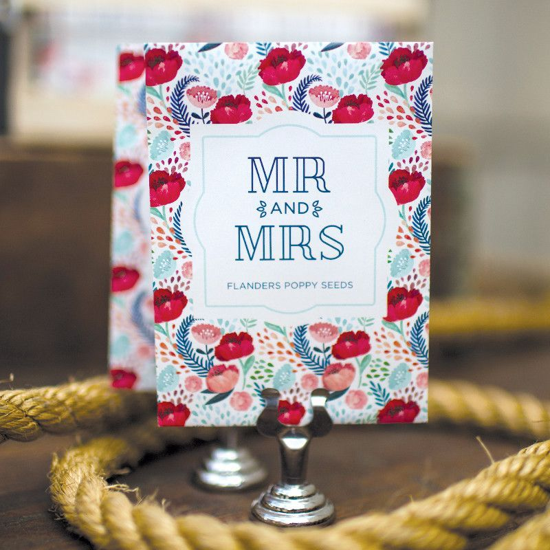 Our Mr. & Mrs seed packet is an excellent Eco-Friendly option for your wedding favors! These wedding favors packets are filled with Shirley Poppy Seeds #BentleySeeds