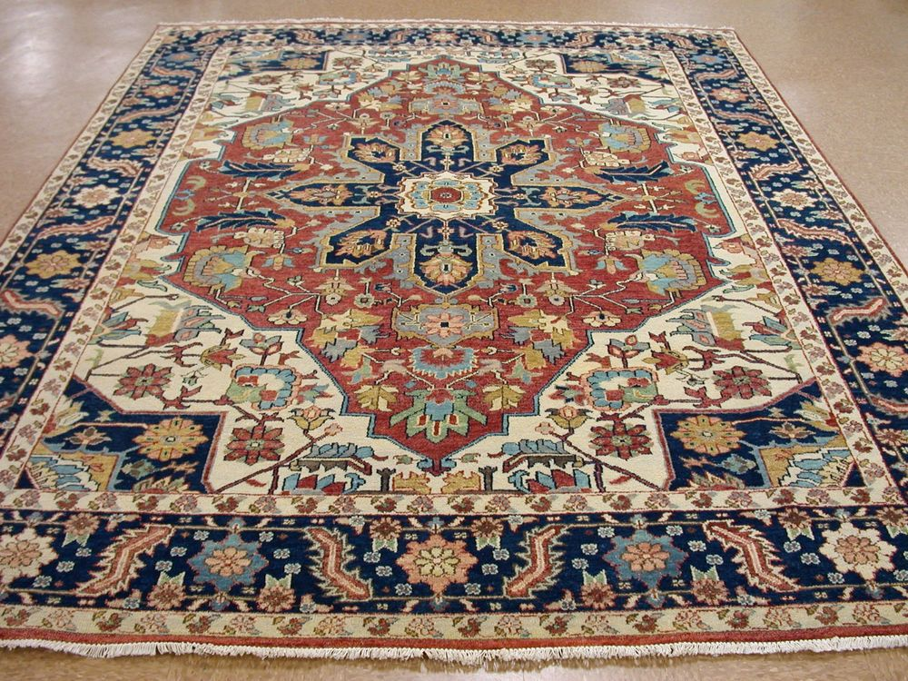 9 X 12 Persian Heriz Style Hand Knotted Wool Terracotta New Oriental Rug Carpet In Home
