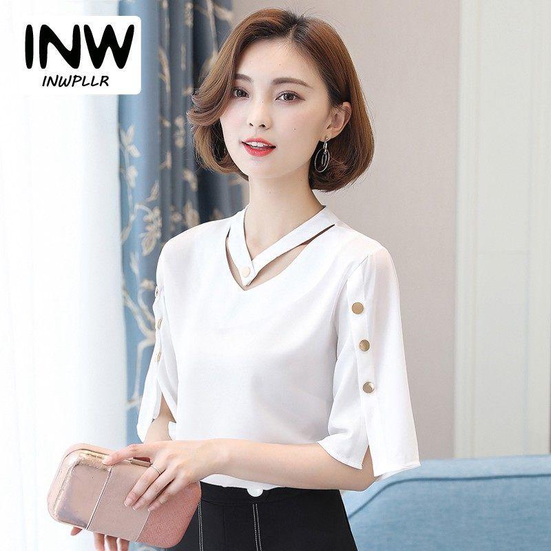 403820eace2e9 Camisa blusa Mulheres 2018 Estilo Coreano V-neck Tops Senhoras Blusa Chiffon  Botão Manga Curta Camisas Brancas de Verão Blusas Mujer