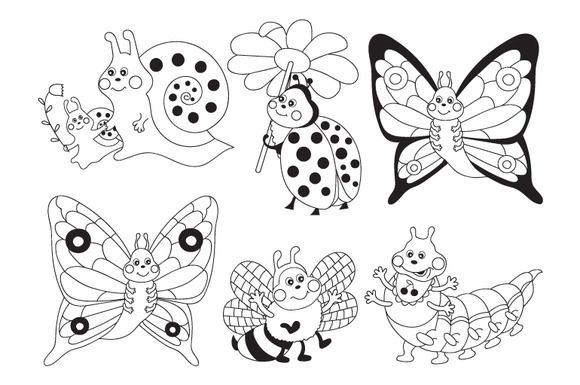 Insects Set Insect Clipart Black And White Cartoon Clip Art