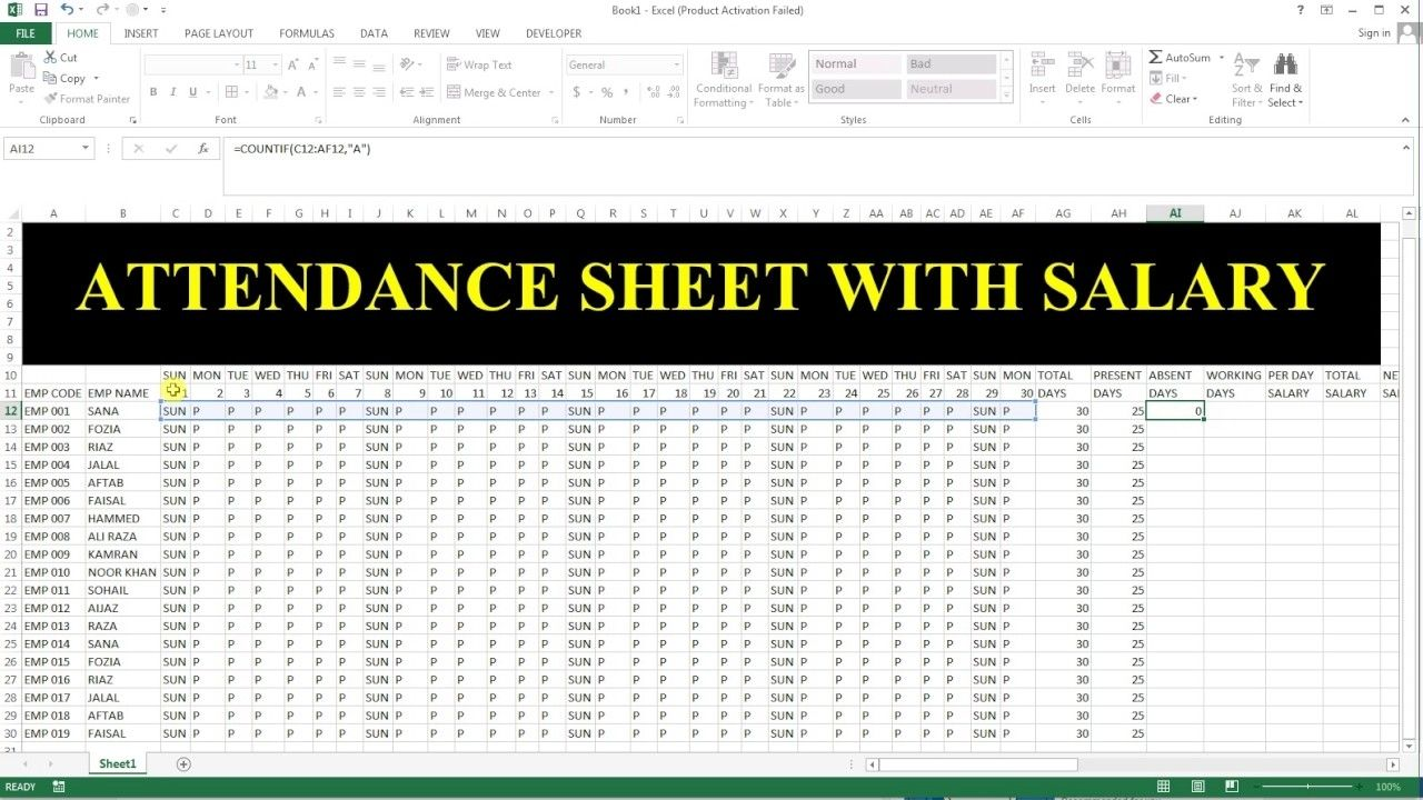 How To Make Full Year Attendance Sheet Attendance Sheet Marketing Calendar Template Attendance Sheet Template