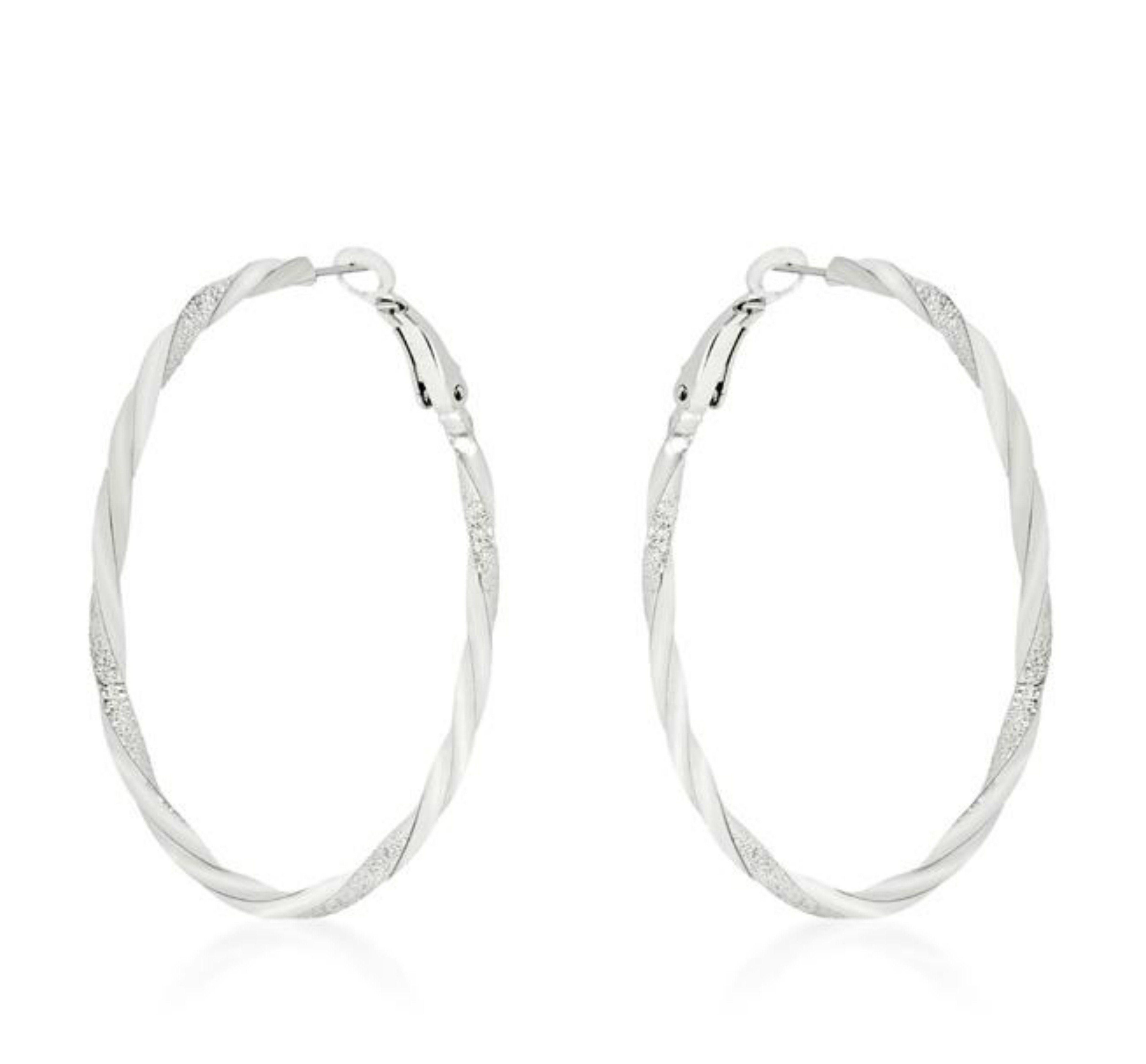 bdf62ae16 Abia Silvertone Twisting Large Hoop Earrings | Cubic Zirconia | Silver