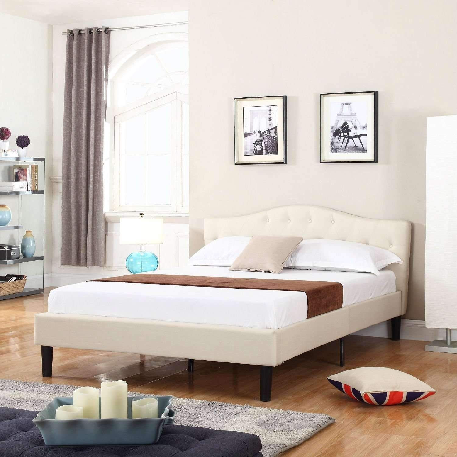 Queen size Ivory Linen Upholstered Platform Bed in 2019
