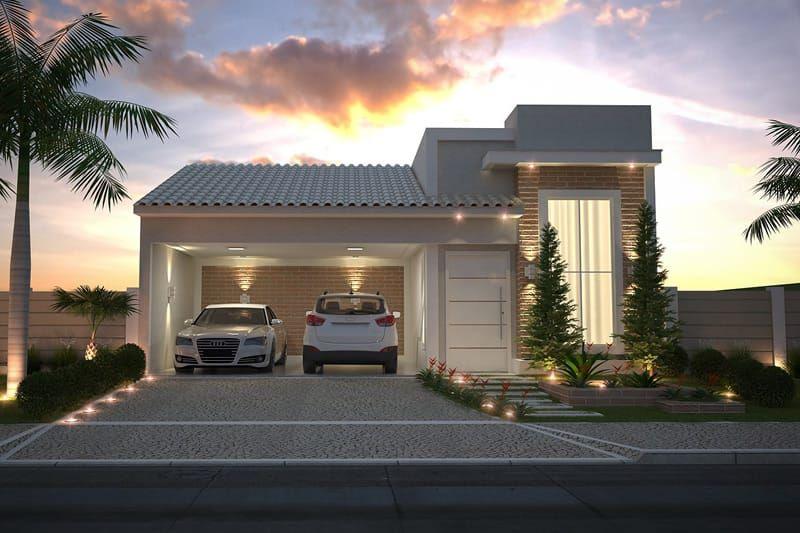 Planta de casa com fachada de tijolinho house casas for Fachadas exteriores de casas modernas