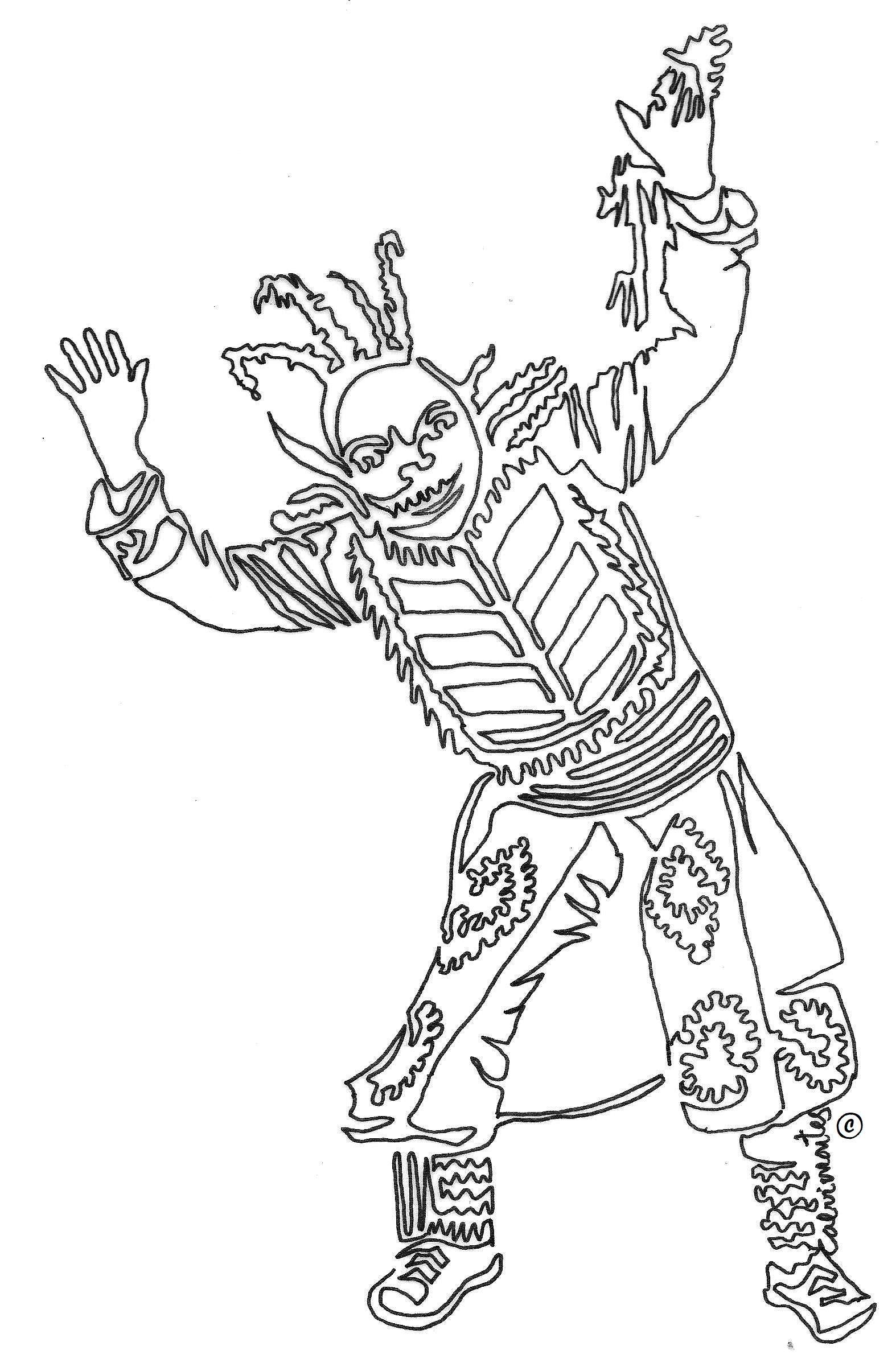Kusillo Personaje Bufon Del Altiplano Boliviano Con Un Solo Trazo Por Carlos Calvimontes Rojas Dingbats Art Humanoid Sketch