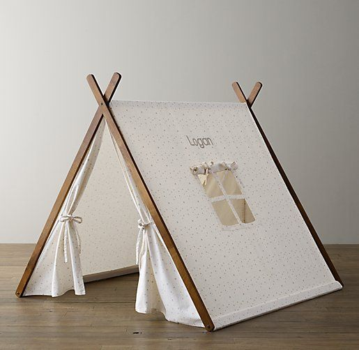 Printed canvas a frame tent grey star little slice for How to build a canvas tent frame