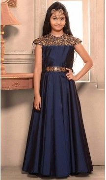 f9e172cbe07 Royal Blue Color Taffeta Silk Fabric Readymade Kids Girl Gowns | FH00021021  #kidsgowns #kidswear #gownstyle #allthingsbridal #bridalsuits  #ethnicfashion ...