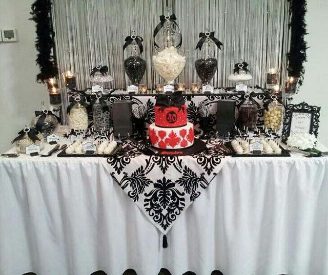 black and white birthday party ideas dessert table