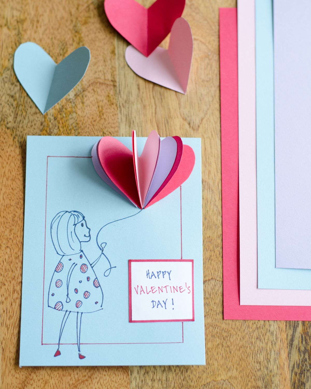 Easy diy valentines cards using simple folded paper hearts diy