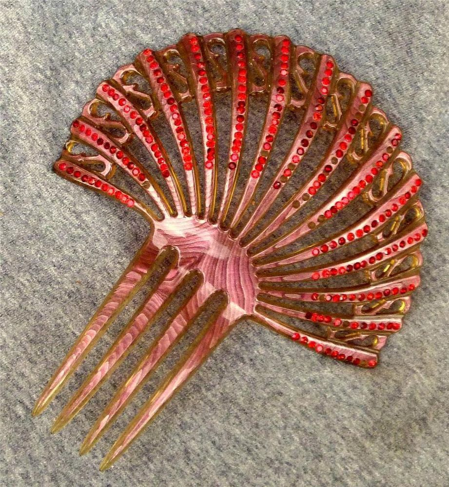 1920s Victorian PINK Celluloid Hair Comb Faux Tortoise Shell w/Red Rhinestones