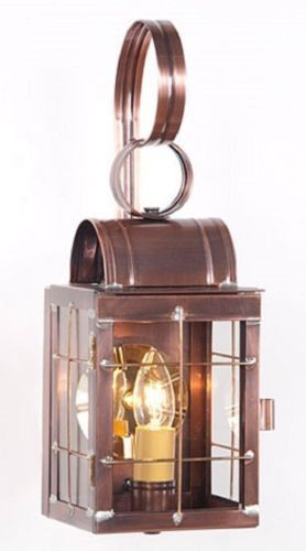 Colonial Wall Lantern Antique Copper Sconce Handcrafted In Usa Wall Lantern Outdoor Sconce Lighting Outdoor Sconces