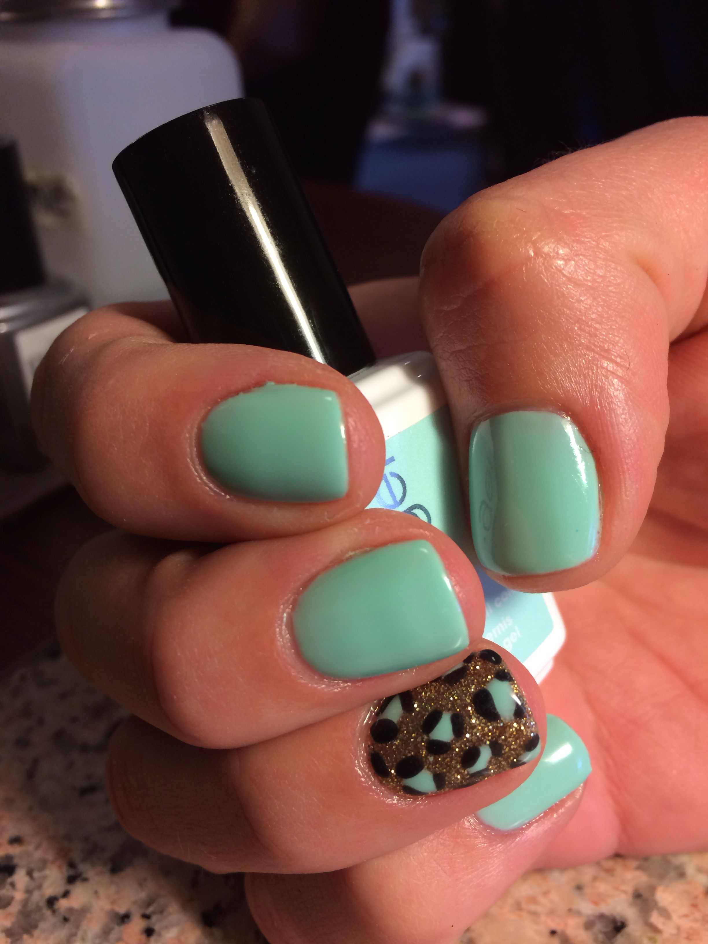 Essie Mint Green gel polish with All Glittery and Gold OPI gel ...