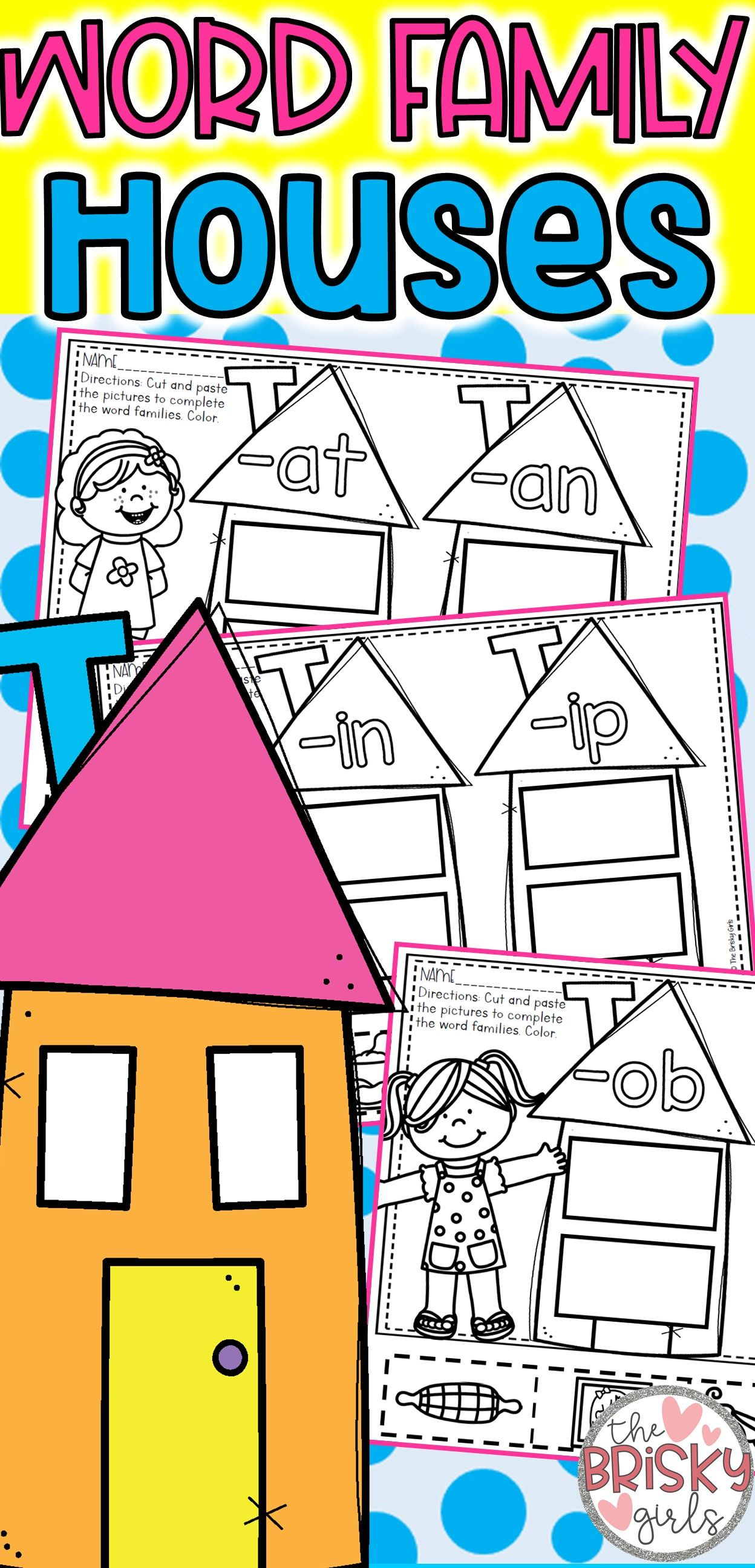 Word Family Worksheets Preschool Word Family Houses
