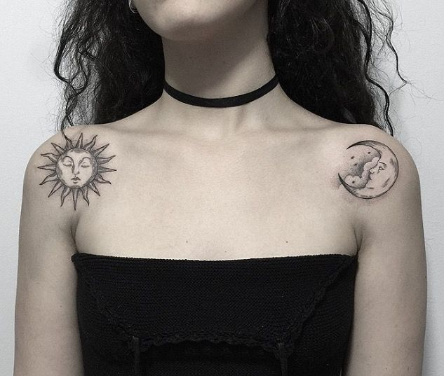 Marla Moon Instagram Shoulder Moon And Sun Tattoo Tattoos Sun Tattoos Sun Tattoo