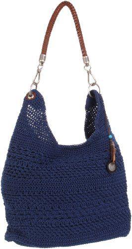 The Sak Bennet Crochet Bucket Hobo Denim One Size Tote