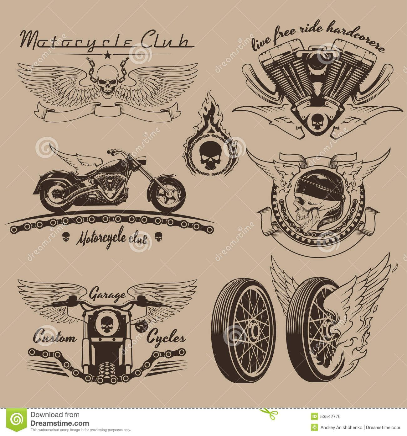 5973f37f Vintage Motorcycle Tattoo Designs vintage motorcycle labels stock ...