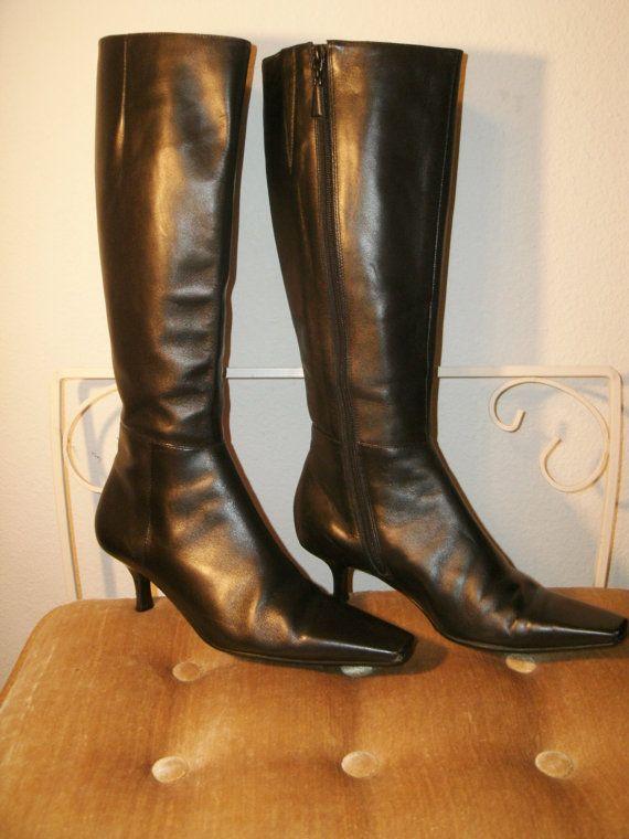 Vintage Ann Taylor Tall Black Kitten Heel Boot by kellyshippyhut ...