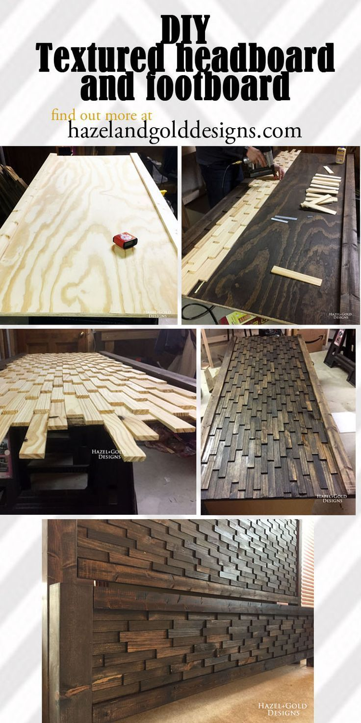 diy textured headboard and footboard | wood headboard, wood beds