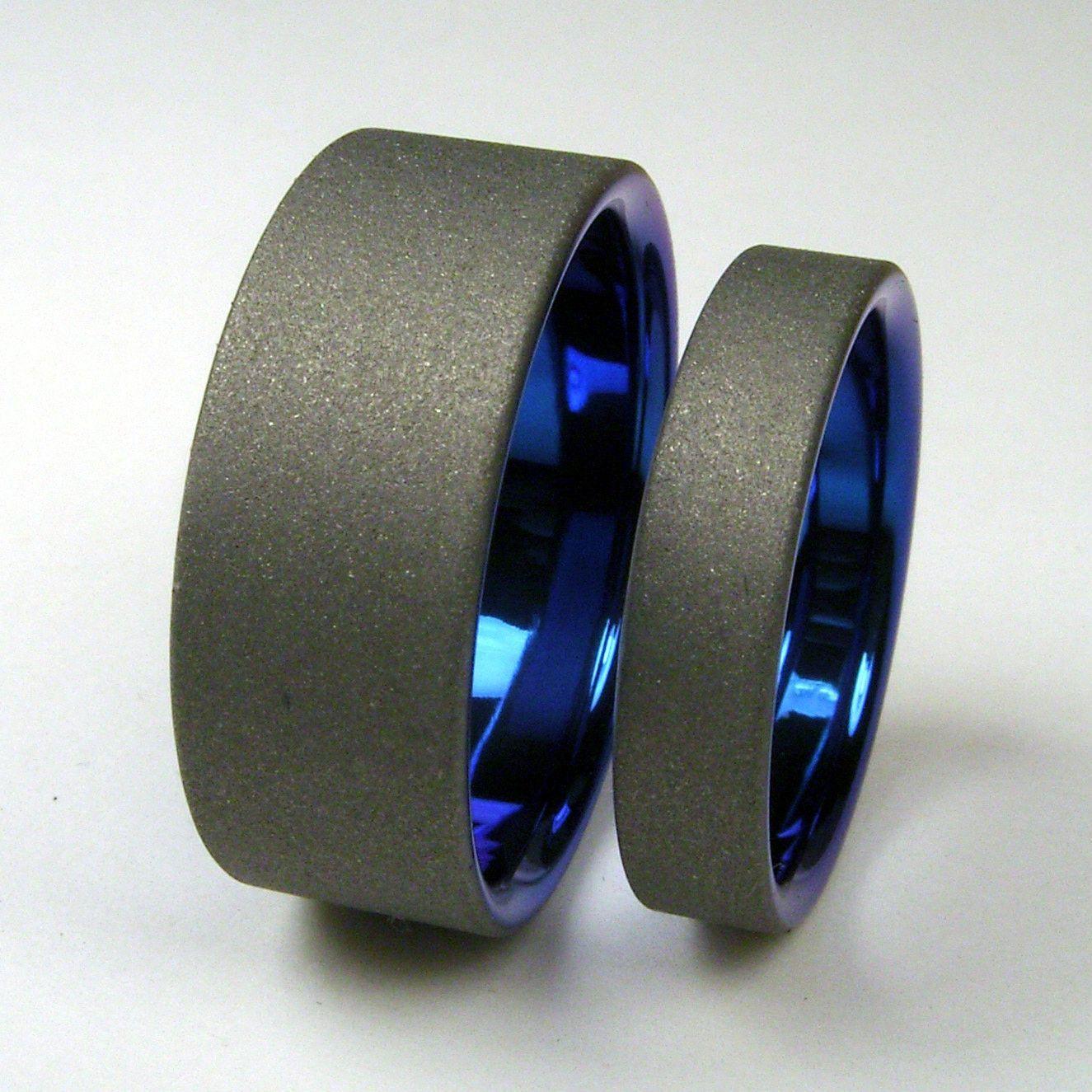 Titanium wedding band set cobalt blue and matte gray
