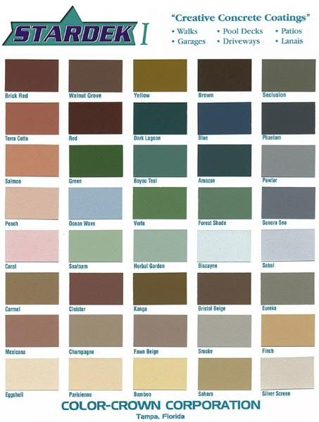 Concrete Color Coatings Chart For Patios And Driveways Concrete