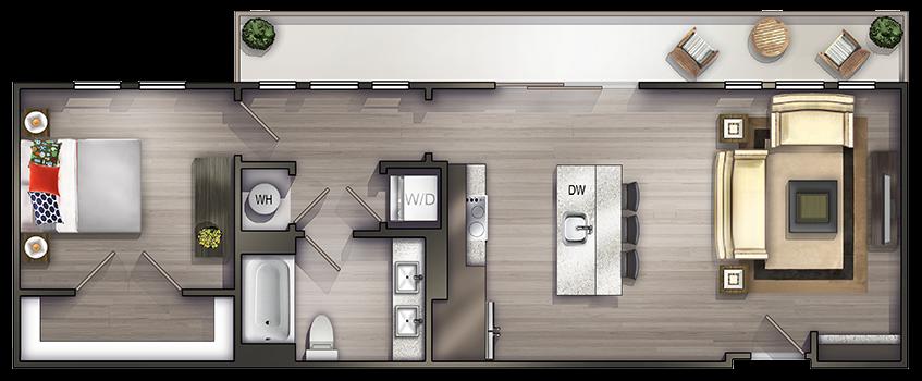 One Bedroom Apartments in Nashville TN Floor Plans in