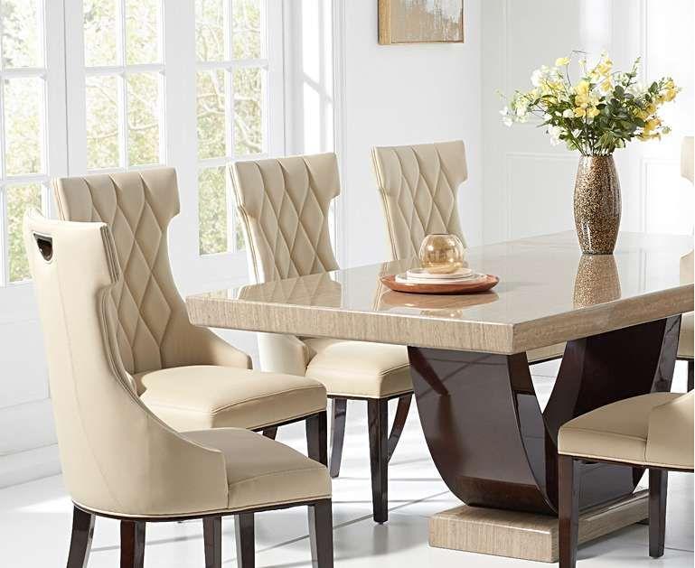 Raphael 200cm Brown Pedestal Marble Dining Table With Freya Chairs Dining Table Marble Marble Top Dining Table Marble Dining Table Set