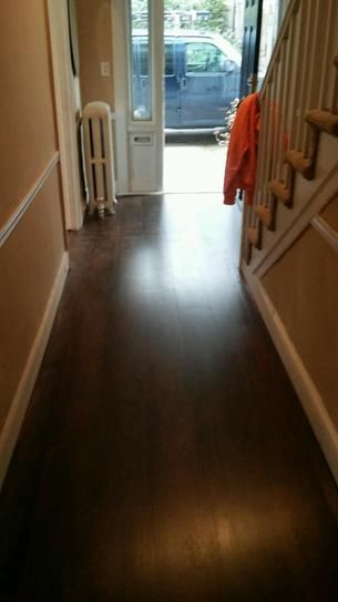 Trafficmaster Dark Brown Hickory 7 Mm Thick X 8 1 X2f 32 In Wide X 47 5 X2f 8 In Length Laminate Floo Flooring Dark Laminate Floors Brown Laminate Flooring