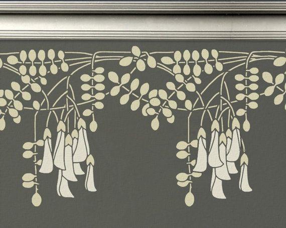 Randschablone schwarze Heuschreckenblüten im Jugendstil für Wände 20 x 39 Zoll für einfach Randschablone schwarze Heuschreckenblüten im Jugendsti...