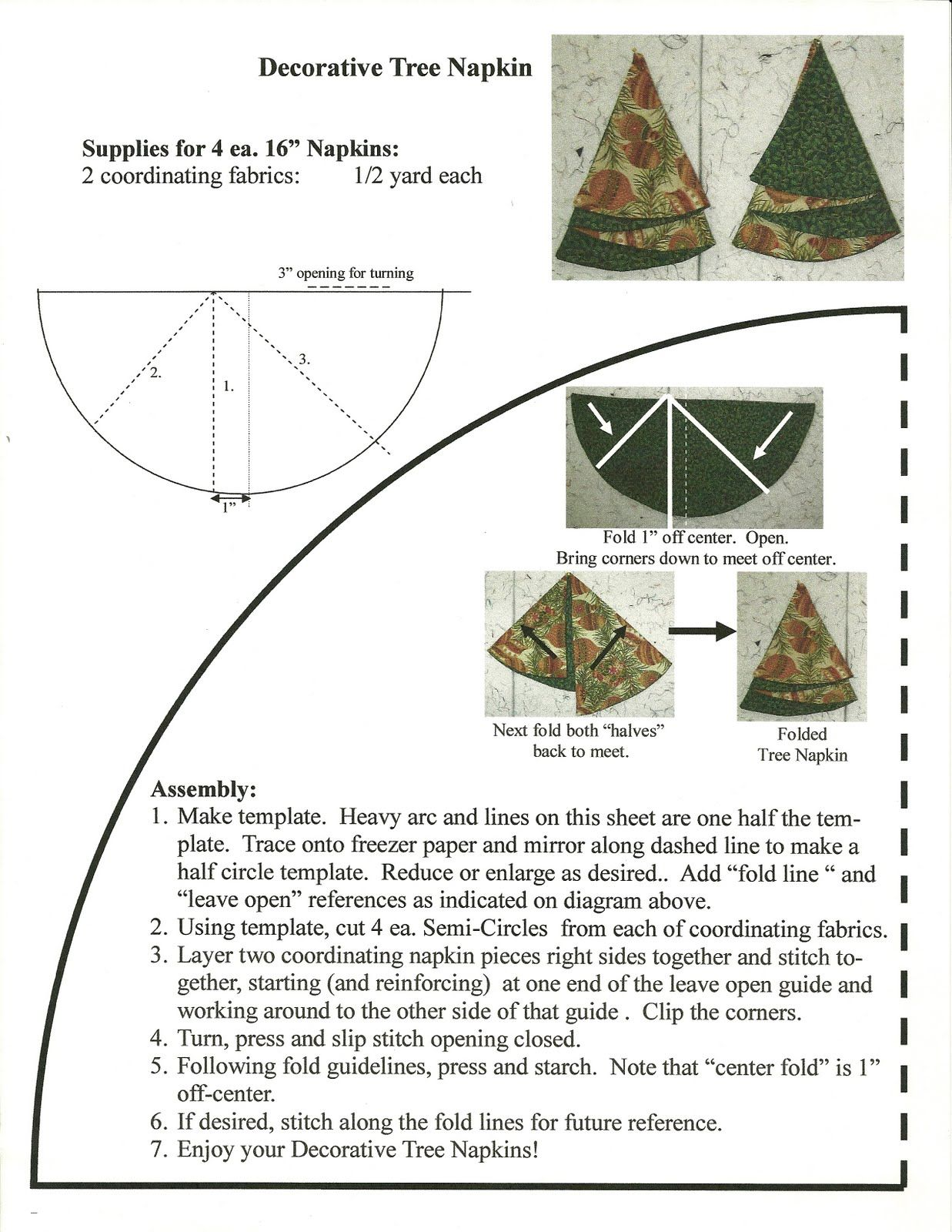Quilter S Fun Christmas Tree Napkins Christmas Tree Napkins Fabric Christmas Trees Christmas Sewing