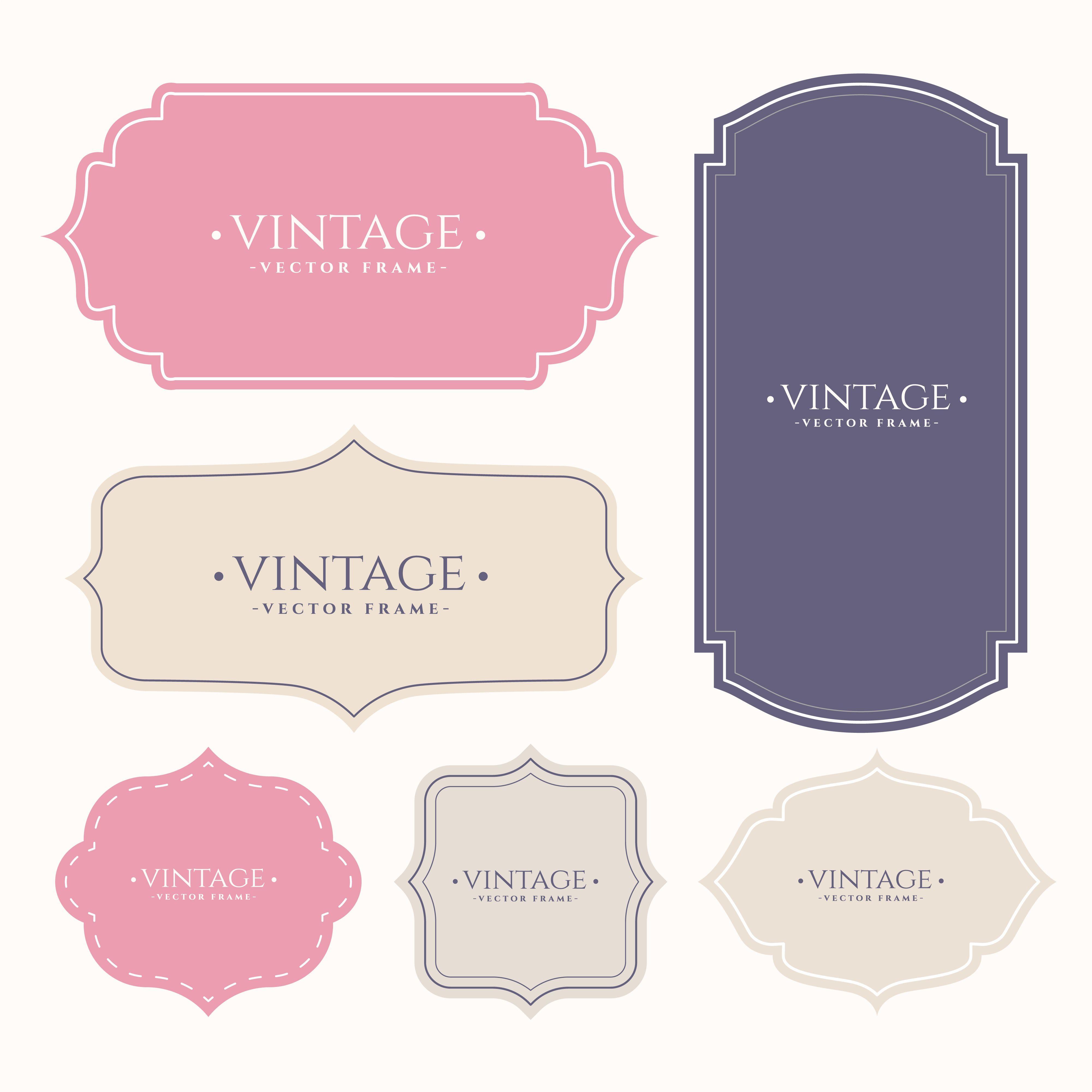 Set Of Vintage Frame Labels Vector Free Vintage Frames Vector Art Design