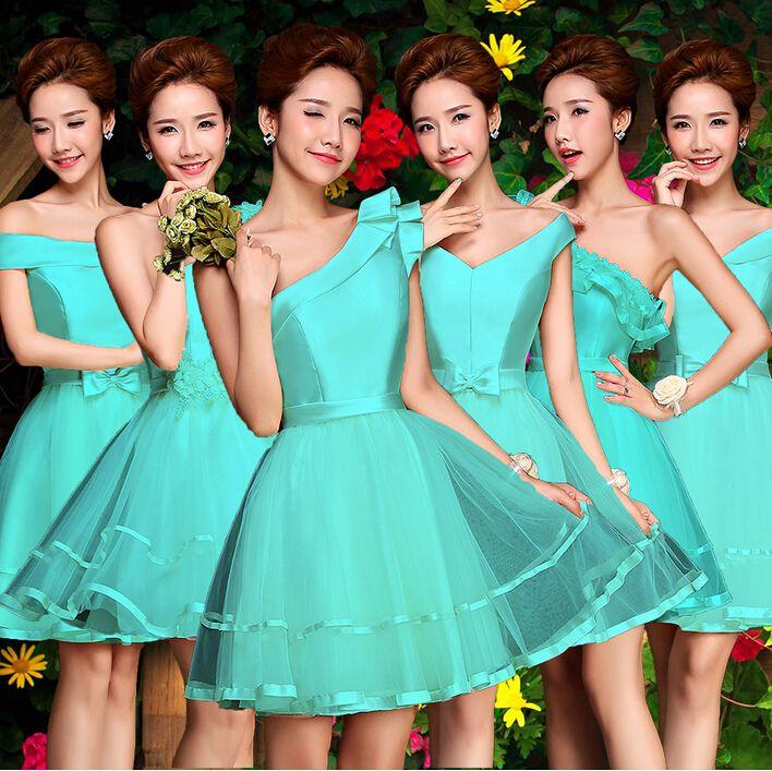 e1ba7df7c2424 Encontrar Más Vestidos de Damas de Honor Información acerca de Verde menta  corto applique de la