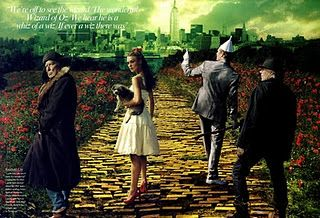 Wizard of Oz (Vogue magazine, 2005)  Emerald City (The Lion, Dorothy, The Tin Man, and The Scarecrow) Photograpghy: Annie Liebovitz