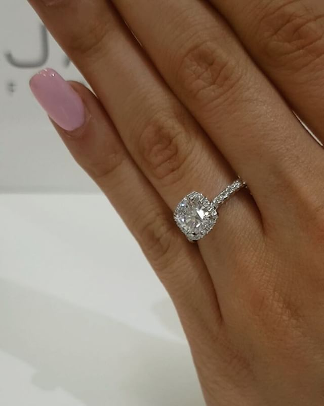 1ct Cushioncut Diamond Set In Our Seamless Halo Handcrafted The