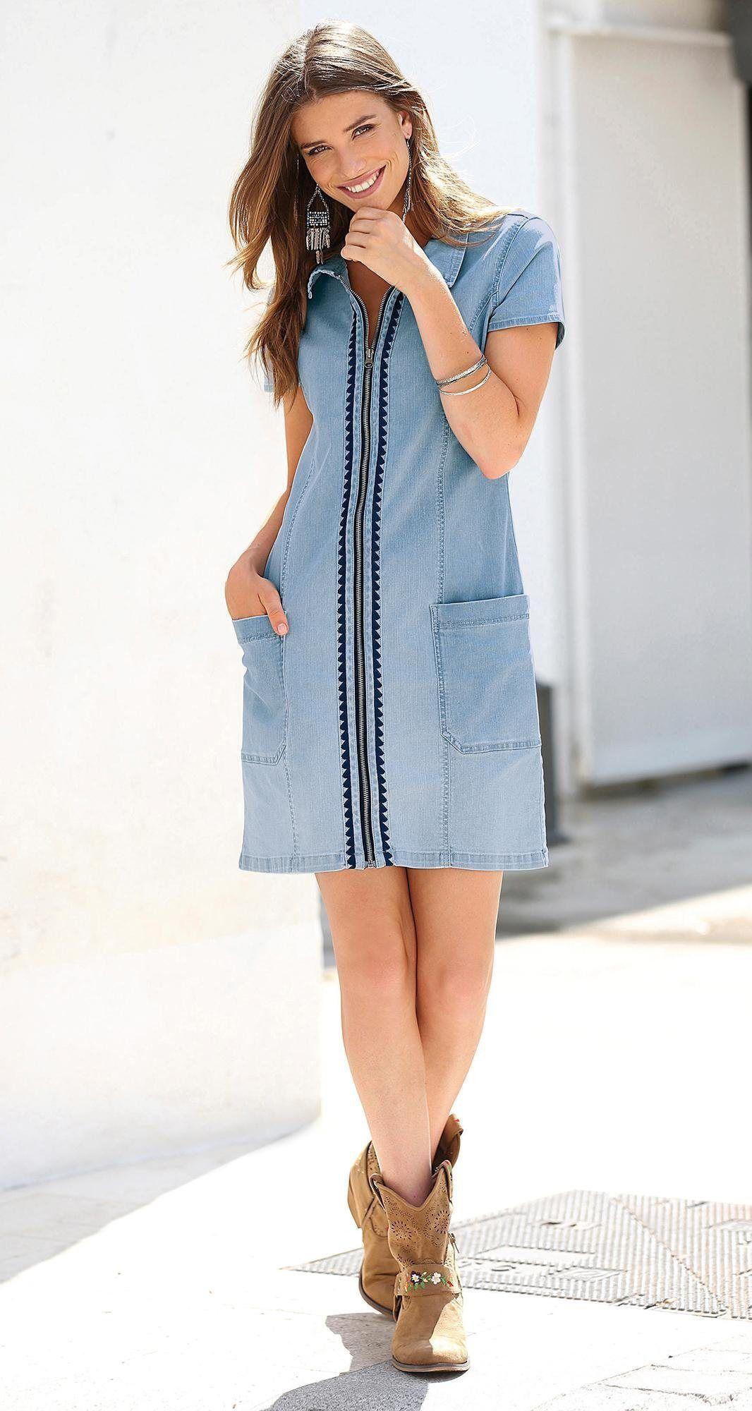 Robe chemise zippée manches courtes broderie femme Exclusivité 3SUISSES -  Bleu Ciel b9dd2881516