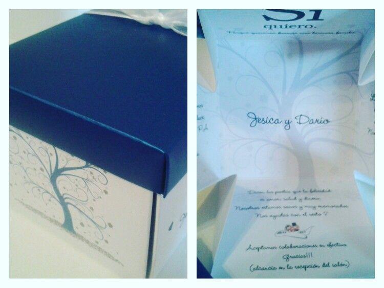 Invitación caja árbol de la vida casamiento.