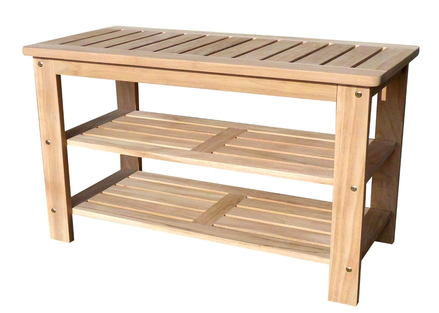 D Art Teakwood Solid Outdoor Shoe Bench With 3 Layers