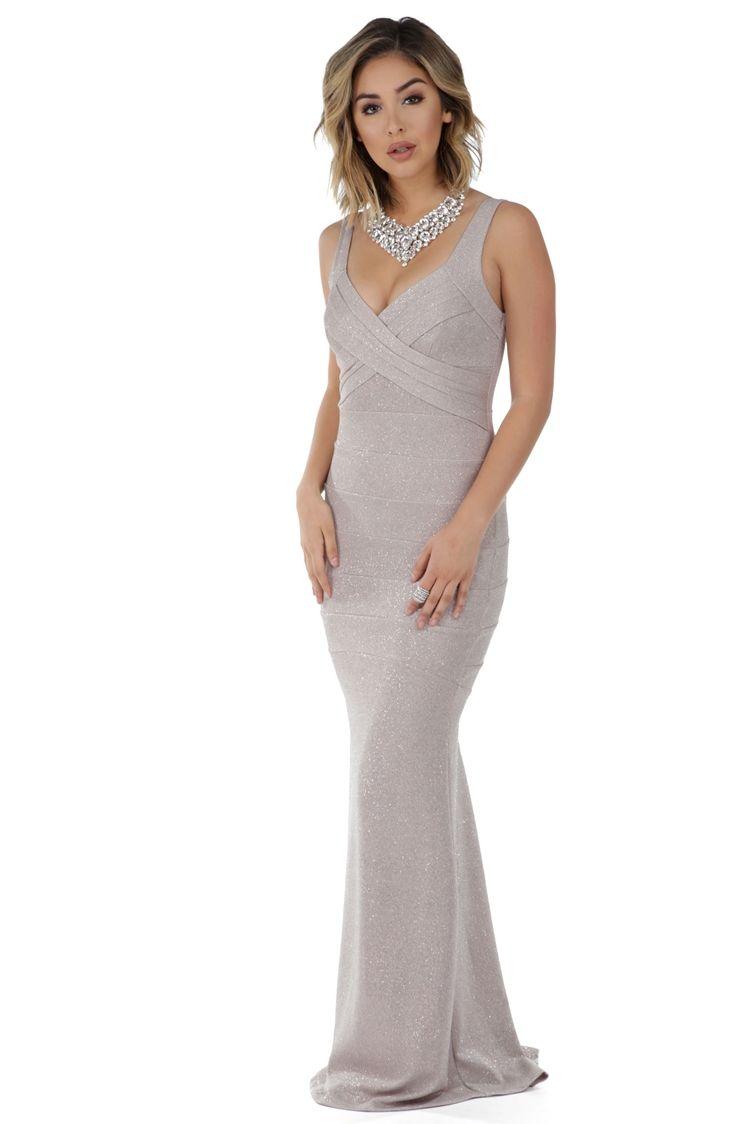 Lorena taupe glitter prom dress elegant dresses pinterest