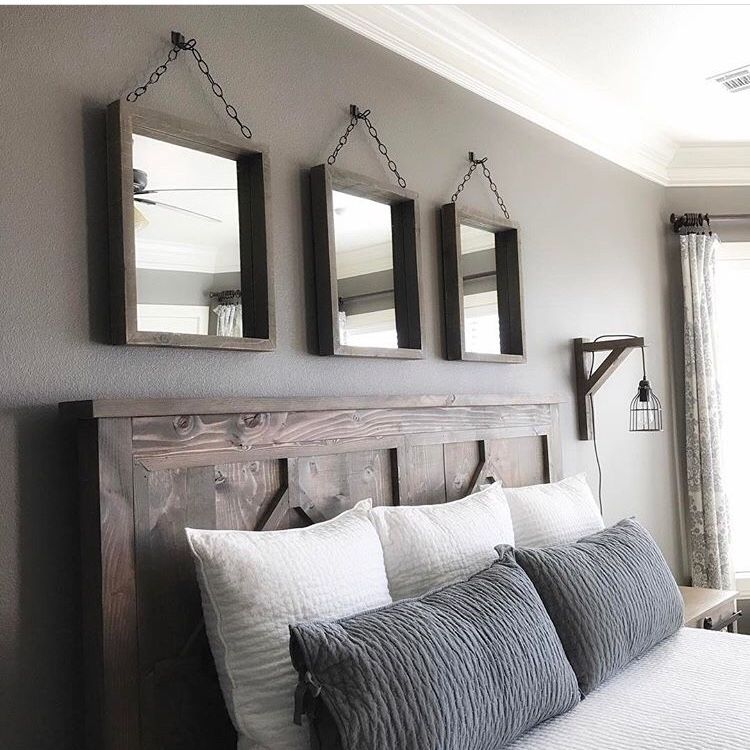 Accent wall farmhouse style master bedroom rustic