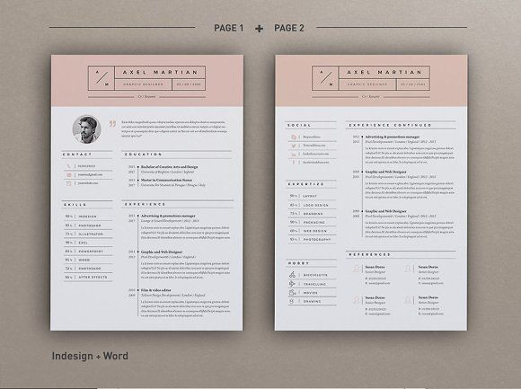Resume Axel (2 pages) by Estartshop on @creativemarket Ready for - resume 1 or 2 pages