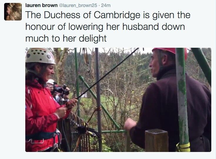 Kate and William were in casualclothes for an abseiling adventure.