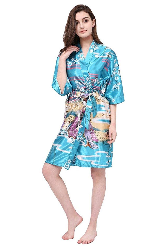 da8444cac09a Japan Cherry Beauty Women s Printed Kimono Robe Short Bride Robes ...