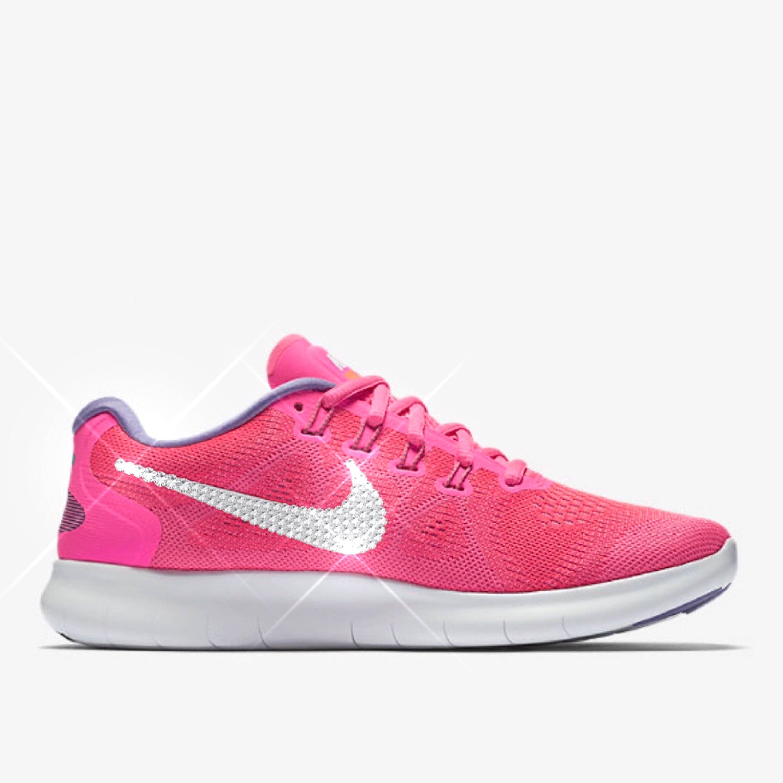 bling nike shoes- crystal nikes- Women's bling Nike free run- hot pink  bling nikes - sparkly sneakers- pink bling nikes- breast cancer shoes