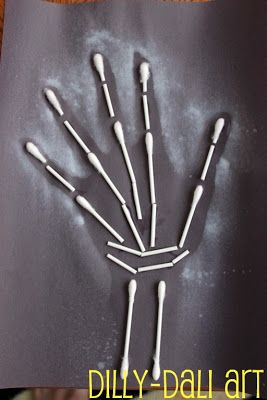 Halloween q tip skeleton silhouette craft preschool for Q tip skeleton craft template